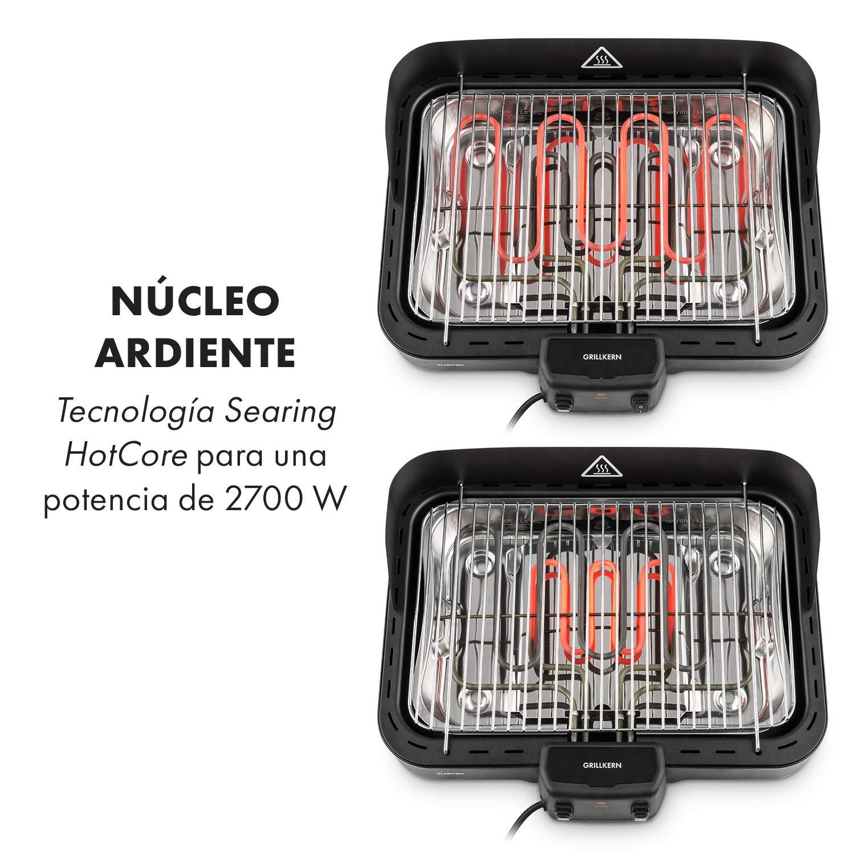 ReflectorBoost Ocupa Poco Espacio 800 W Ideal para Carnes Klarstein Grillkern Barbacoa el/éctrica Negro Parrilla 3 Zonas de Calor Mesa de Barbacoa 1900 Temperatura de 400 /°C