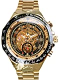 Luxury Golden Case Automatic Mechanical Skeleton Stainless Steel Men Wrist Watch