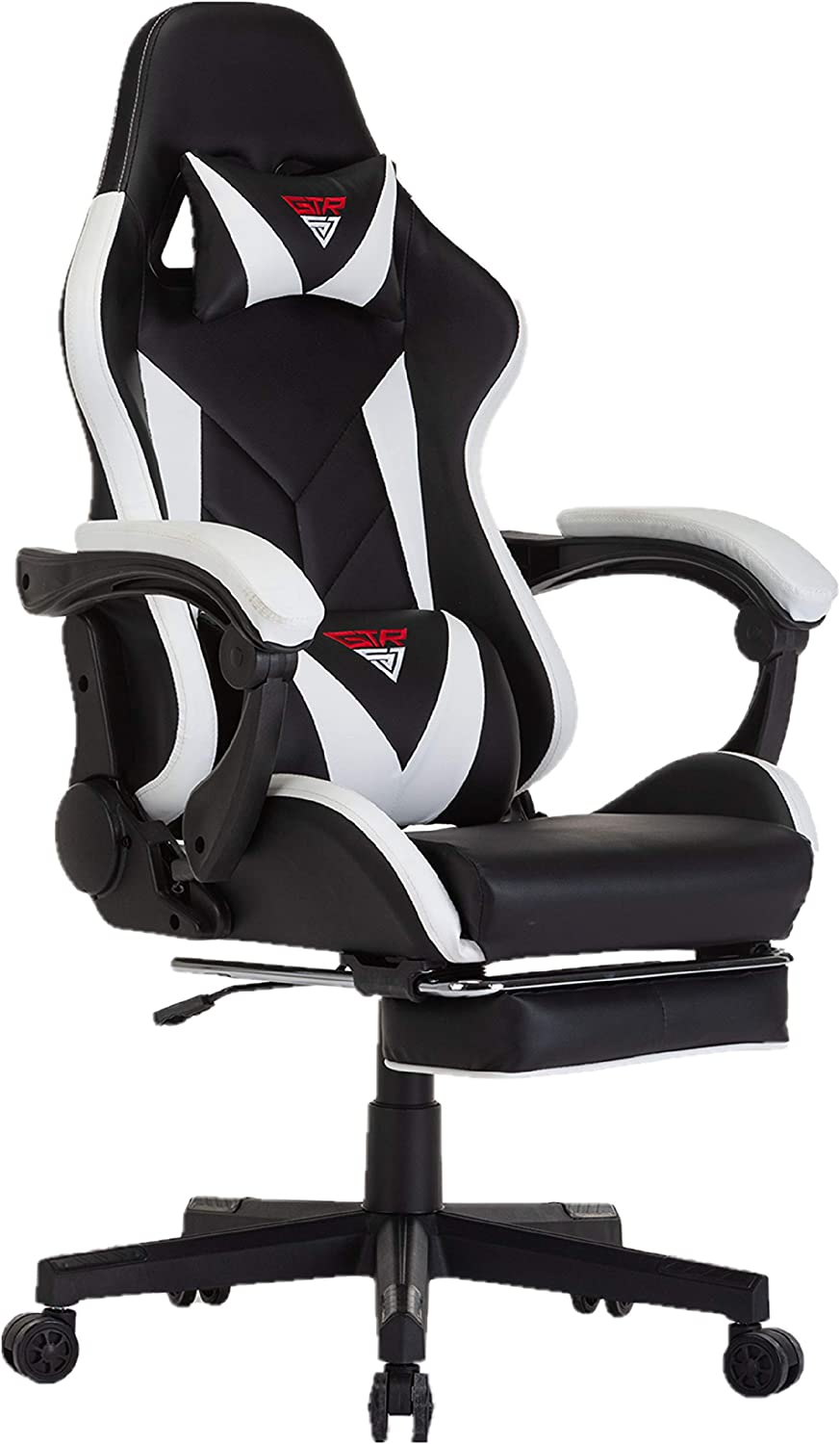 Gaming Chair Racing Style Ergonomic High Back Computer Chair with Adjustment Headrest and Lumbar Support E-Sports Swivel Chair with Footrest (Black/Ivory)