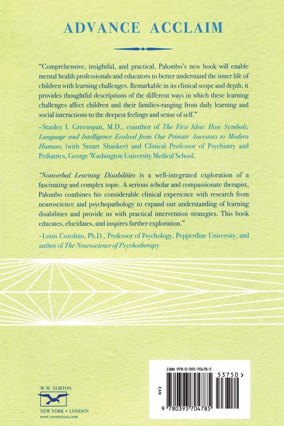 Nonverbal Learning Disabilities: A Clinical Perspective: Joseph Palombo:  9780393704785: Books - Amazon.ca