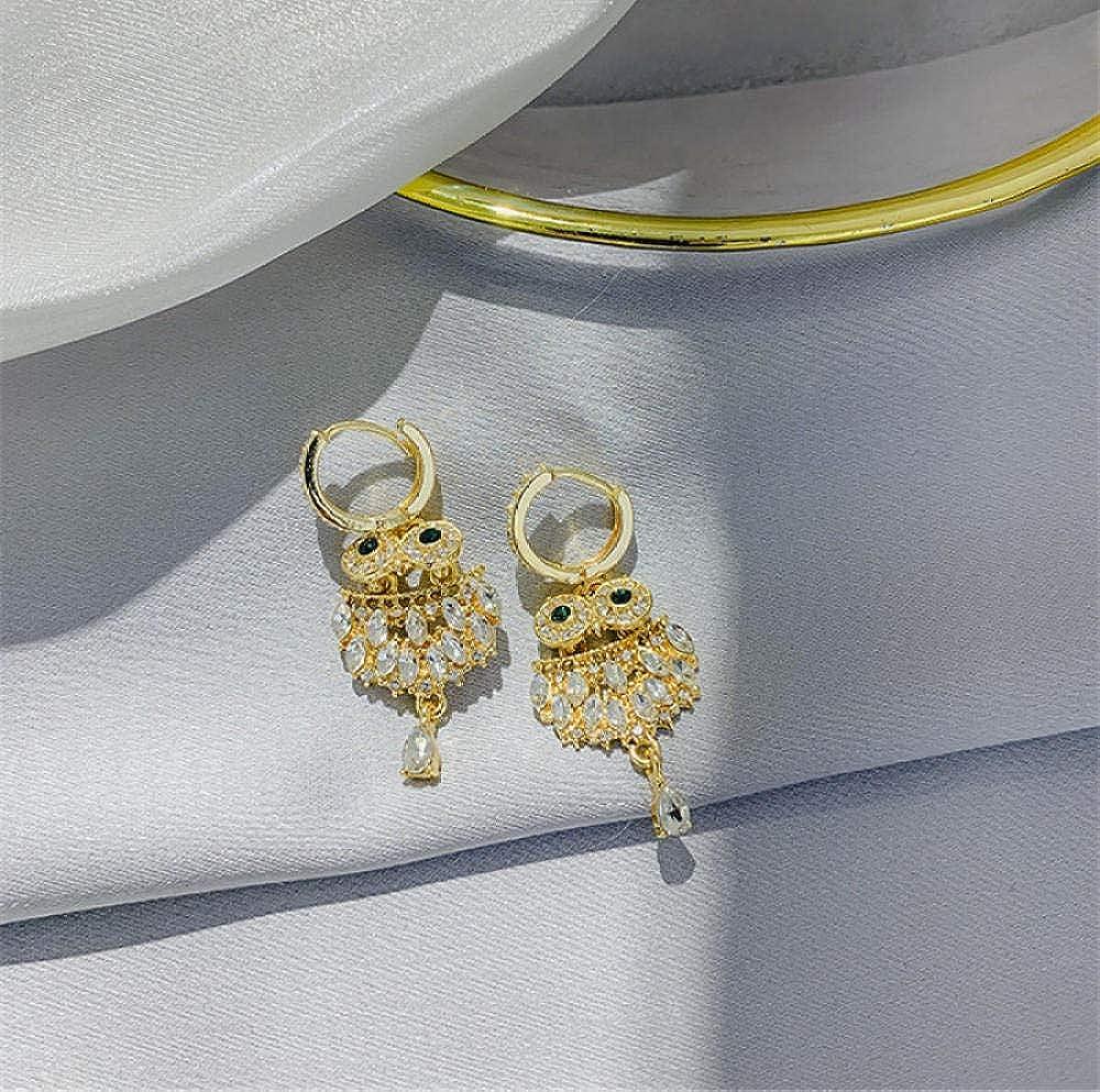 Pendiente Pendientes de gota de cristal verde búho para mujeres Pendientes colgantes de diamantes de imitación brillantes Regalos de joyería de fiesta de moda