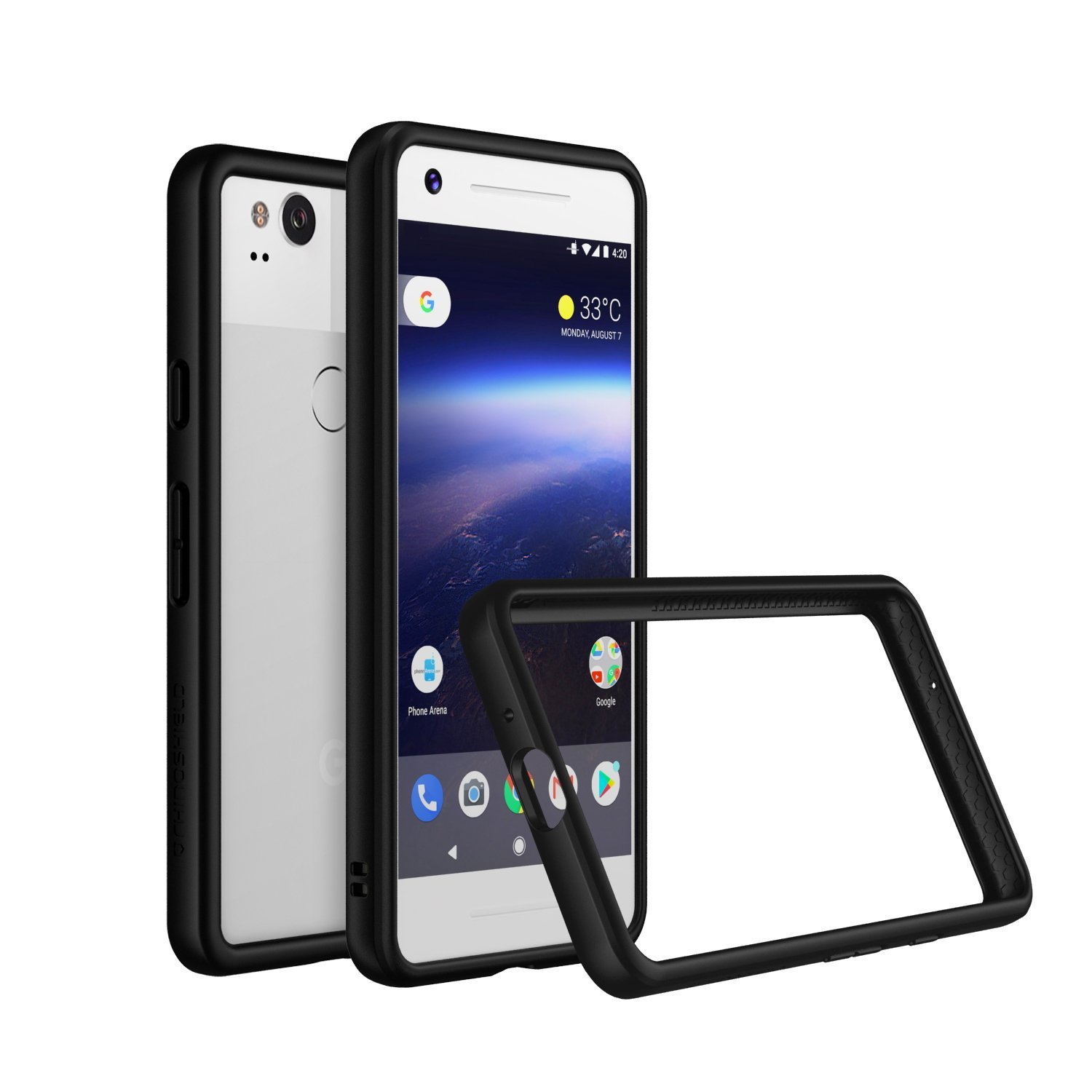 RhinoShield Bumper Case for Pixel 2 [NOT XL] | [CrashGuard] | Shock Absorbent Slim Design Protective Cover [3.5M / 12ft Drop Protection] - Black by RhinoShield
