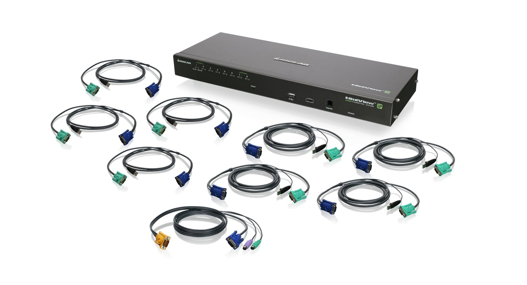 IOGEAR 8-Port IP Based KVM Kit with USB KVM Cables, GCS1808iKITU