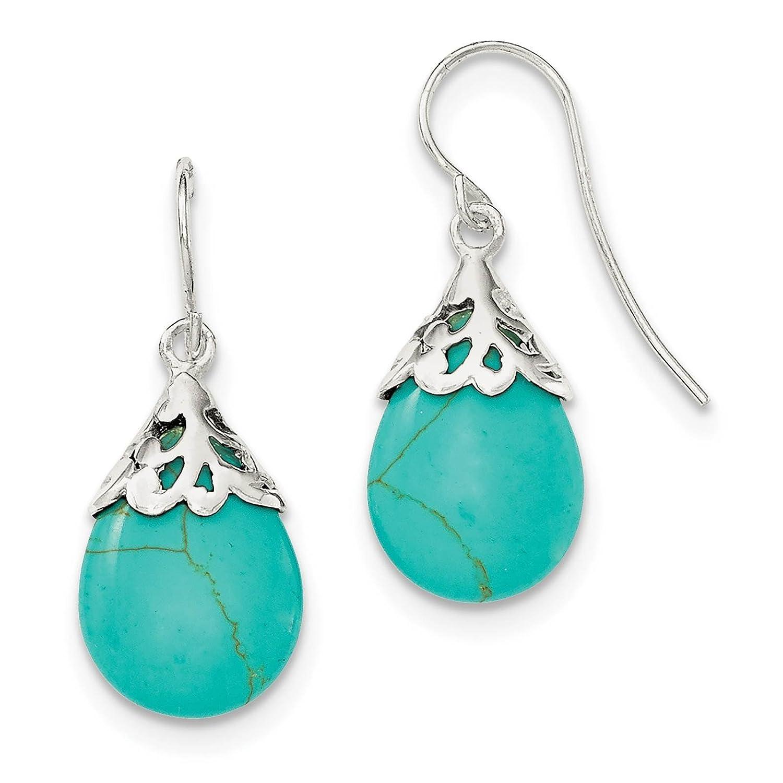 925 Sterling Silver Polished Teal Stone Teardrop Dangle Earrings