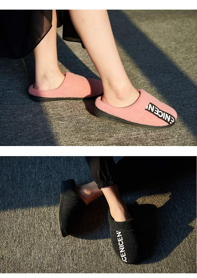 Color : Black, Size : 1 Lihin Warm Comfortable Soft Touch Cotton Slippers Bag with Slippers Female Winter Couple Indoor Warm Non-Slip Thick-Soled Fur Shoes Home Slippers