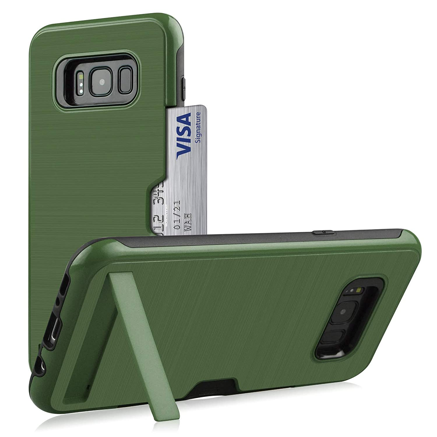 -Army Green 2017 Galaxy S8 Plus Case,DAMONDY Kickstand Ultra Thin Dual Layer Shock Protective Rugged Armor Hybrid PC+Soft TPU Heavy Duty Protection Card Slot Holder Cover Case for Galaxy S8 Plus