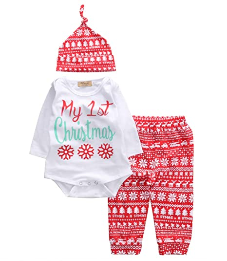 617871eaa VISGOGO Newborn Infant Baby Boys Girls First Christmas Clothes Romper  +Pants + Hat 3PCS Outfits