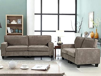 Harper&Bright Designs 2 Piece Sofa and Loveseat Set Living Room Sofa Set  (Loveseat & Sofa, Beige)
