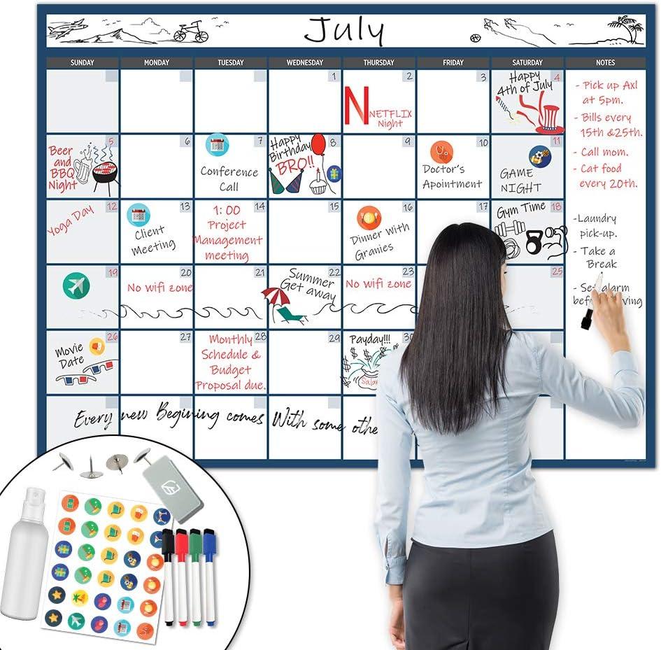 "X Large Dry Erase Wall Calendar - 36""x48"" Premium Giant Oversized Undated Erasable Deadline Task Calendar for 2020 - Jumbo Monthly Task Organizer Planner for Home & Office"