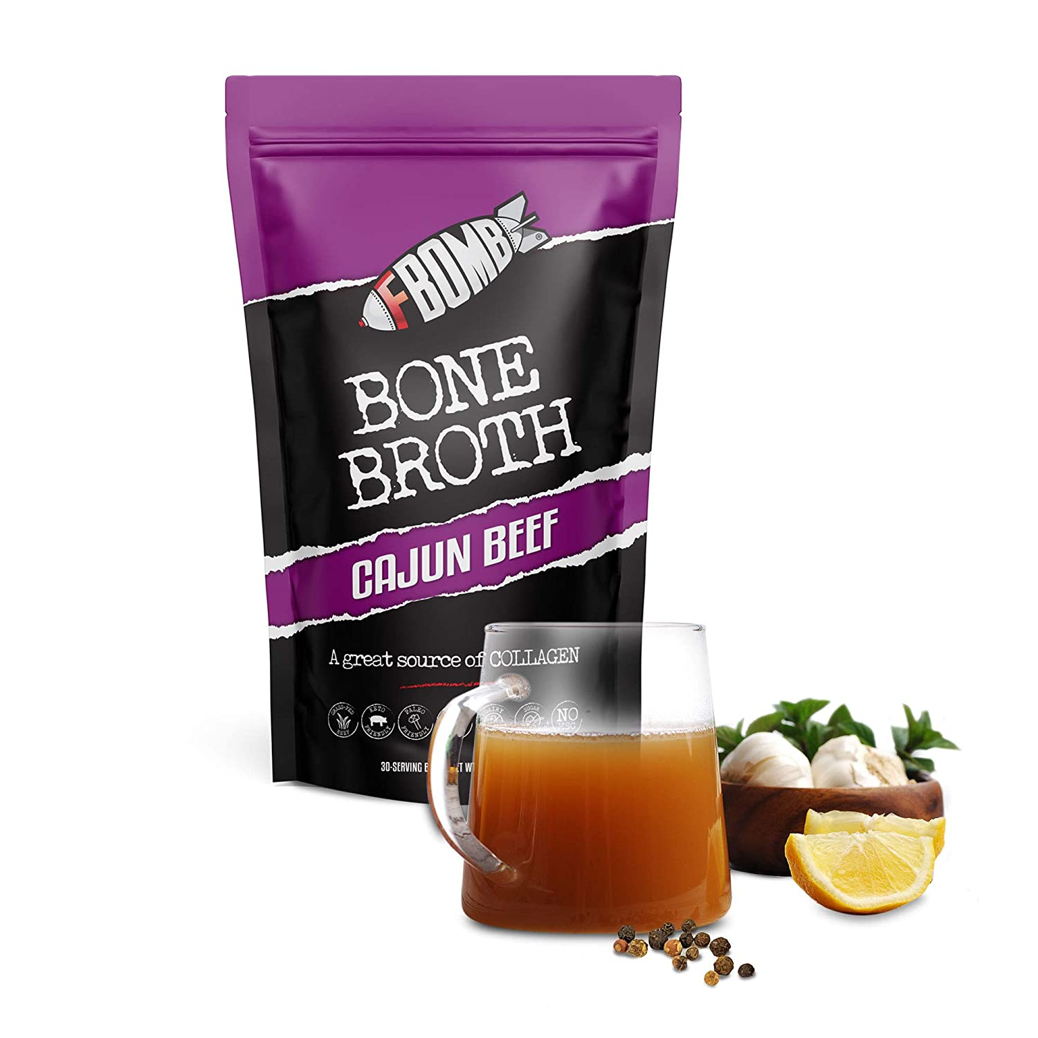 FBOMB Beef Bone Broth Protein Powder - 30 Servings: Keto & Paleo Friendly Soup, Fortified with Electrolytes & Collagen | Grass-Fed, Pasture Raised Beef | Dairy-Free, Gluten Free, Non-GMO | Cajun