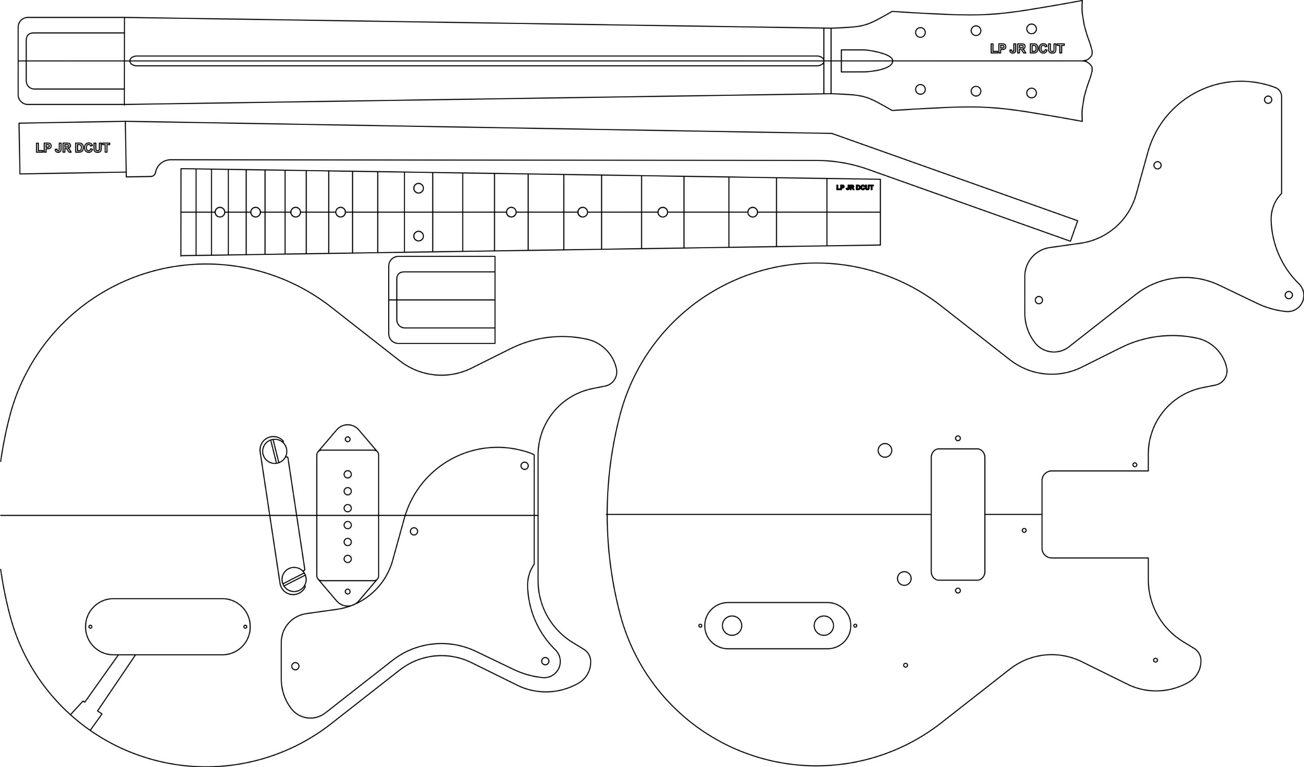 Electric Guitar Routing Template - LP JR DC 24.625'' Scale by GPC