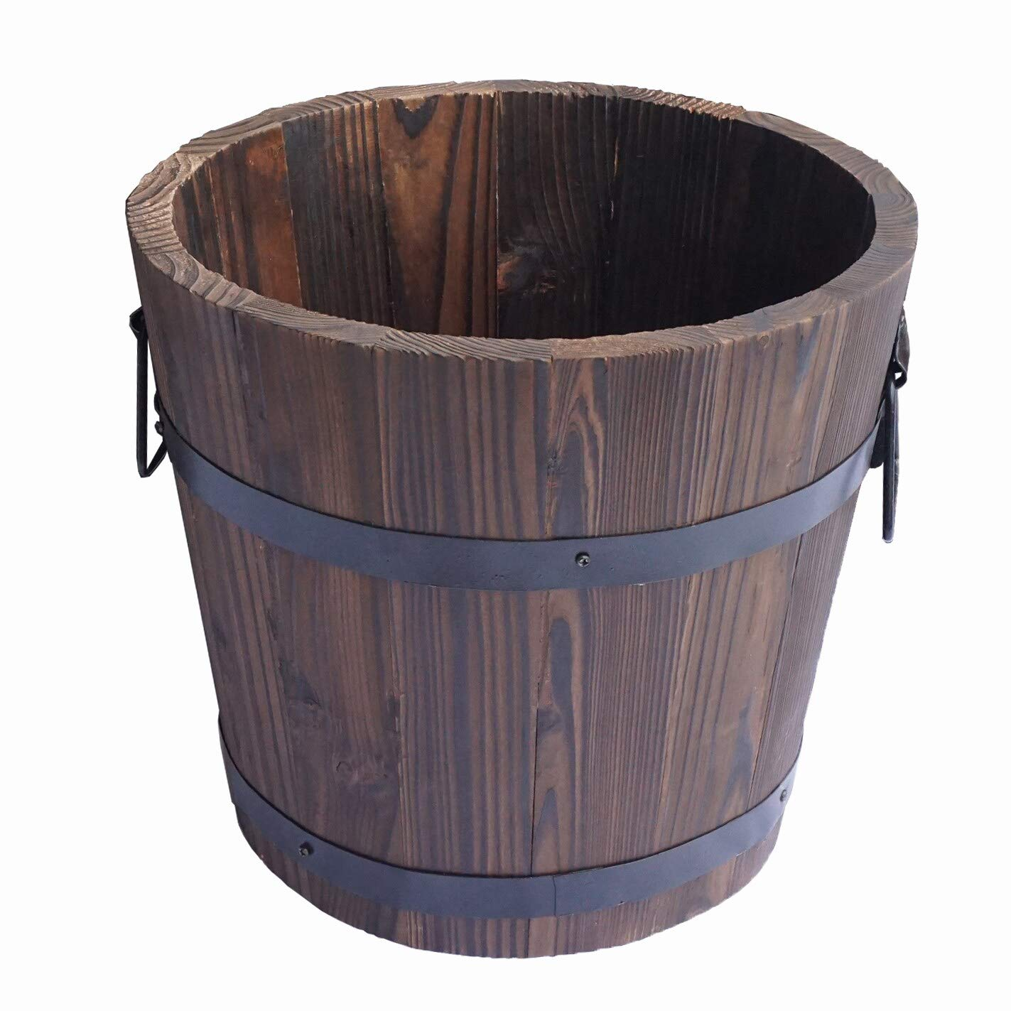 Extra Large Wooden Whiskey Barrel Planter, 12 Dia 10 High