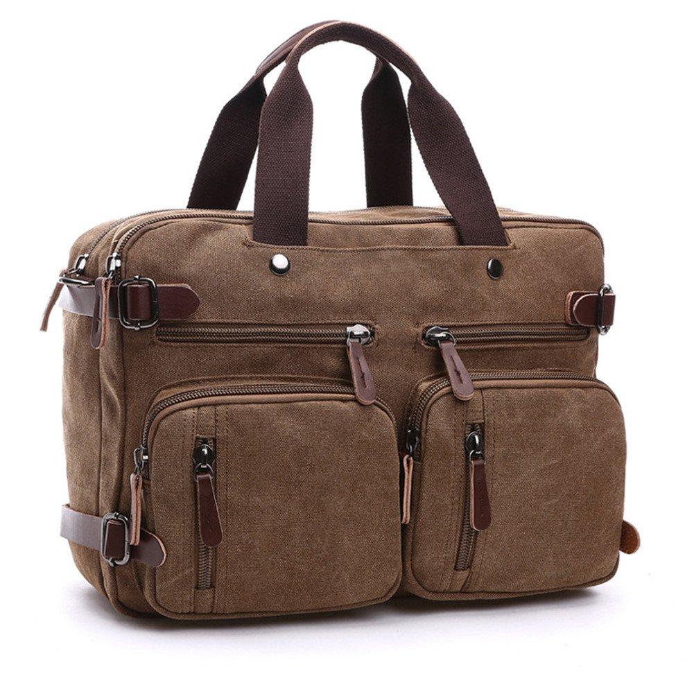 Sechunk Canvas Leather Laptop Messenger Bag Shoulder Bag Backpack (brown, Large)