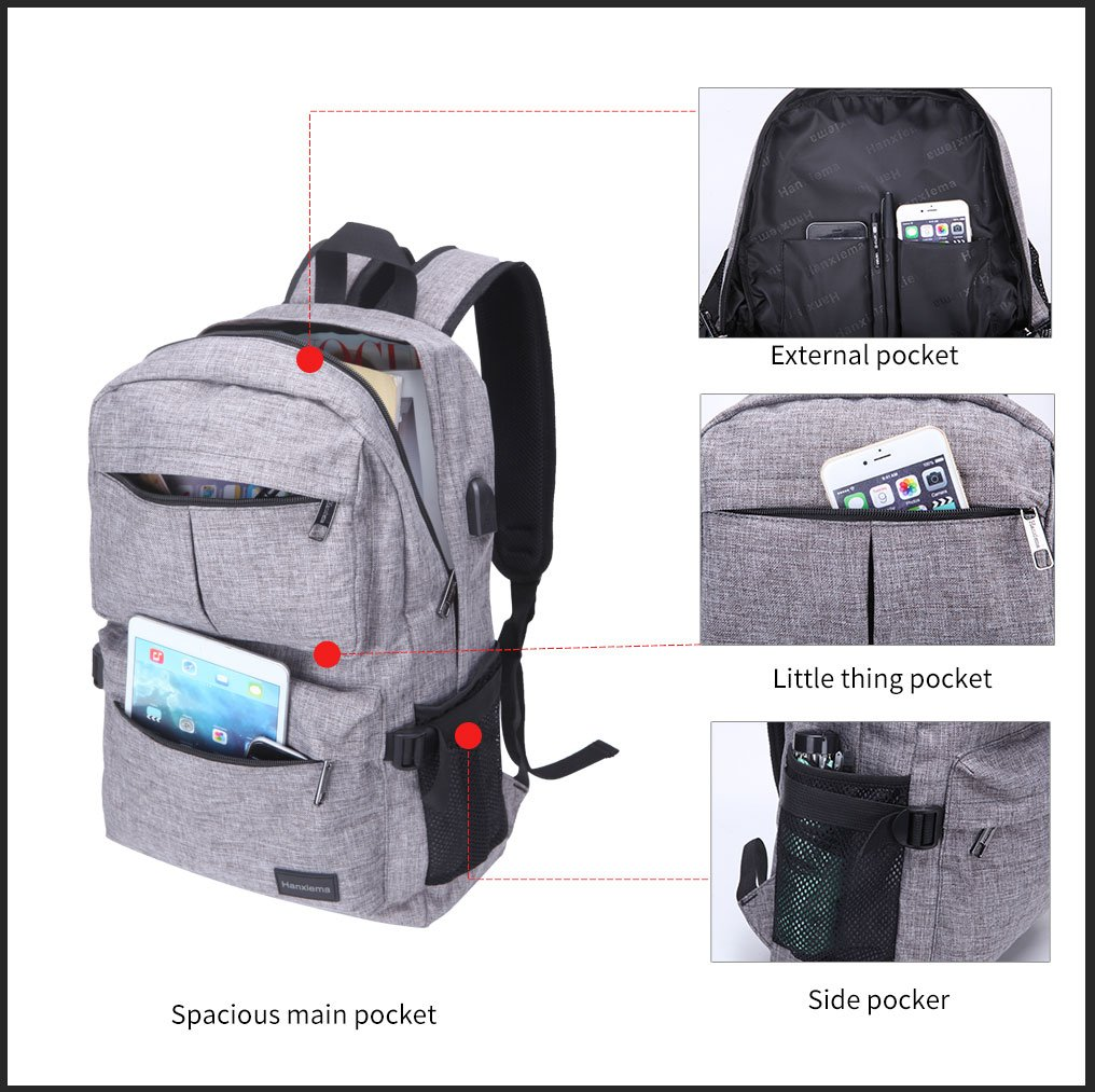 Hanxiema Travel Laptop Backpack Fit 15.6 Inch Laptop or Macbook Oxford Cloth with USB Charging Port Large Capacity School Computer Bag for Men Women (Grey HXm-02-1) by Hanxiema (Image #3)
