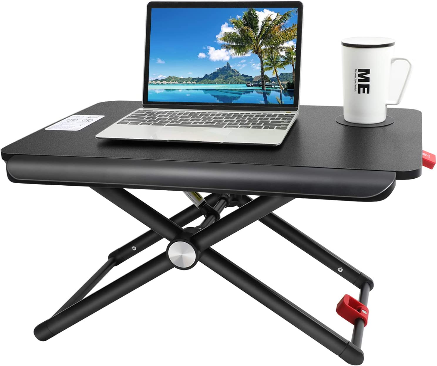 Standing Desk Converter | Height Adjustable Sit Stand Desk with Cup Pad, 5 Height Adjustments, Tabletop Stand Up Desk Workstation for Laptops or Notebooks Up to 17 Inches