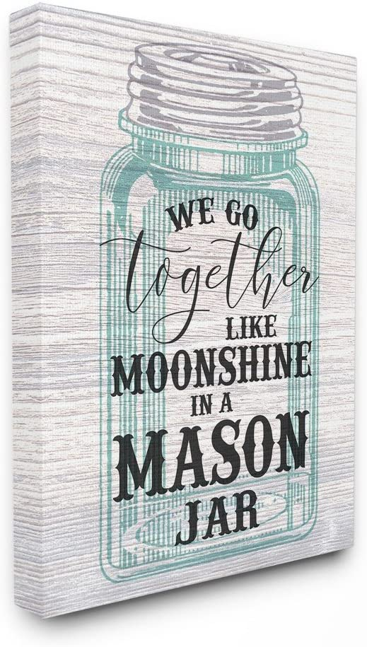 Stupell Industries Together Like Moonshine in A Mason Jar Southern Typography Canvas Wall Art, 16 x 20, Multi-Color