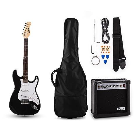 Austin RC200 Juego de guitarra eléctrica modelo Stratocaster Negra