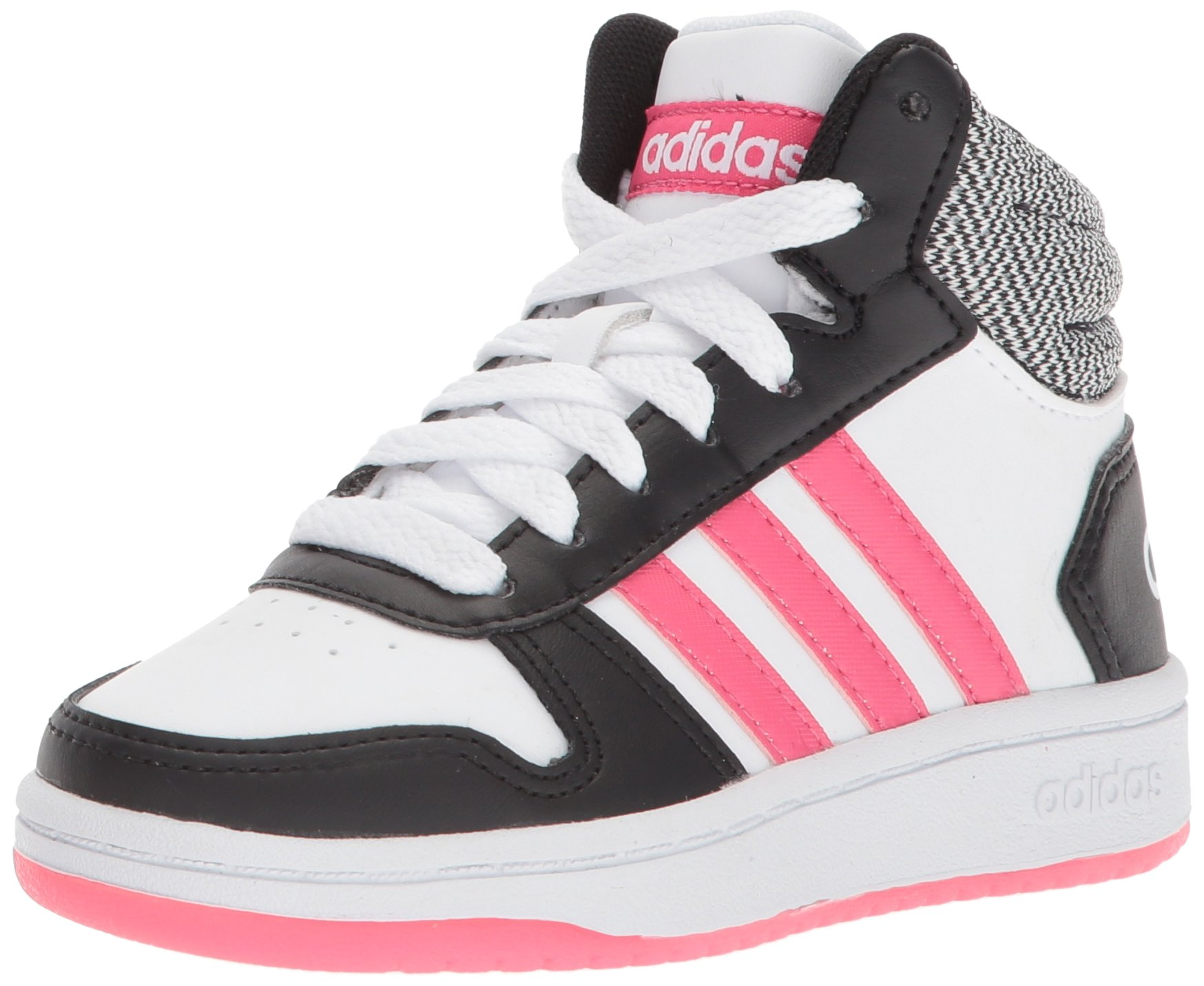 adidas Kids' Hoops Mid 2.0, Core Black/Real Pink/White, 3 M US Little Kid