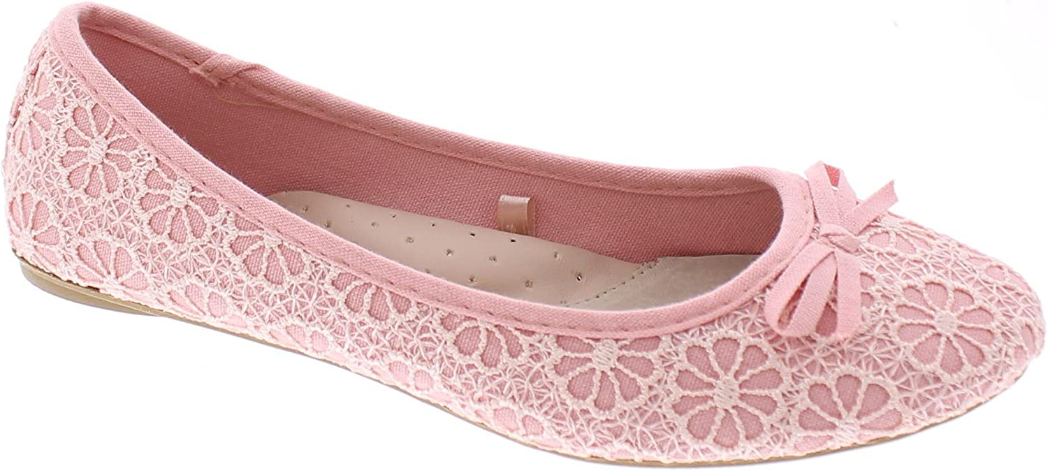 Women Ballet Lace Crochet Mesh Casual Dress Loafers Comfy Flat Slip on Shoes