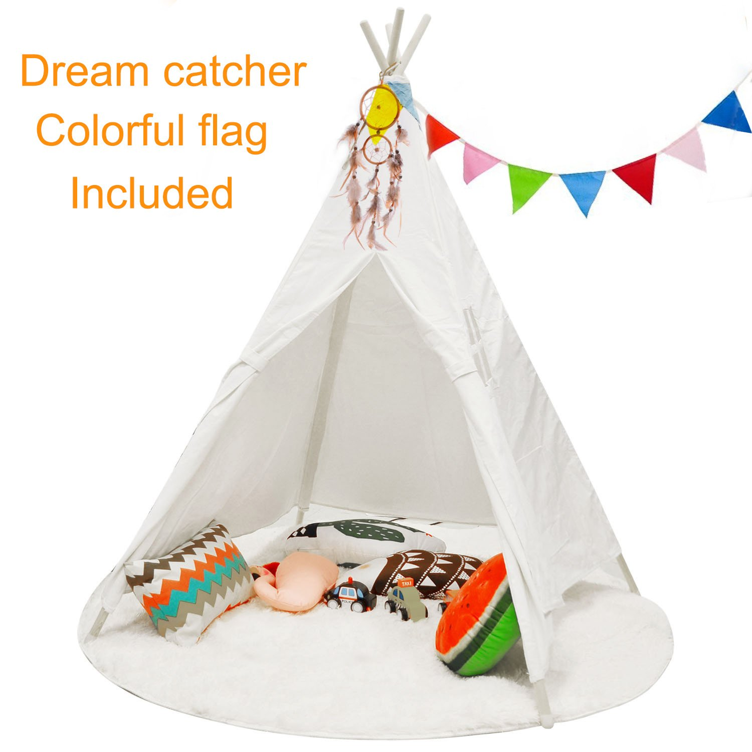Mland Teepee Play Tent Playhouse for Birthday Gifts/ Party Decor /Kids Furnitures &Room Decor with Carry Case , Including Dream Catcher & Colorful Flag