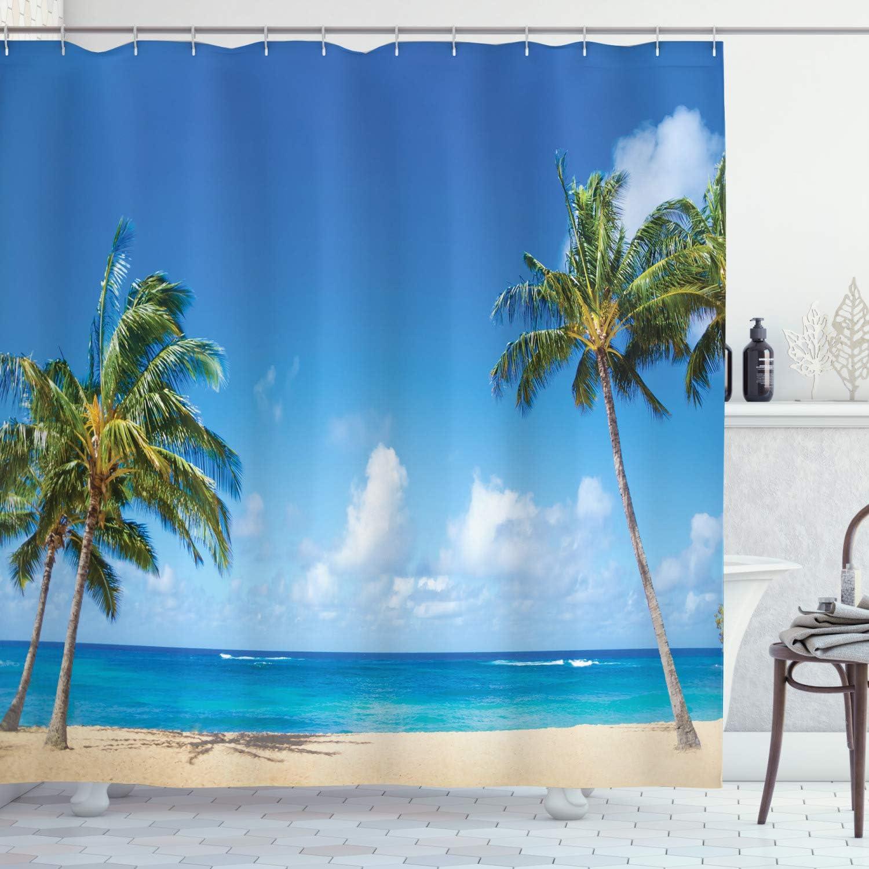 "Ambesonne Hawaiian Shower Curtain, Windy Exotic Island with Tropical Trees Calm Beachy Theme Ocean Photography Print, Cloth Fabric Bathroom Decor Set with Hooks, 84"" Long Extra, Green Grey"