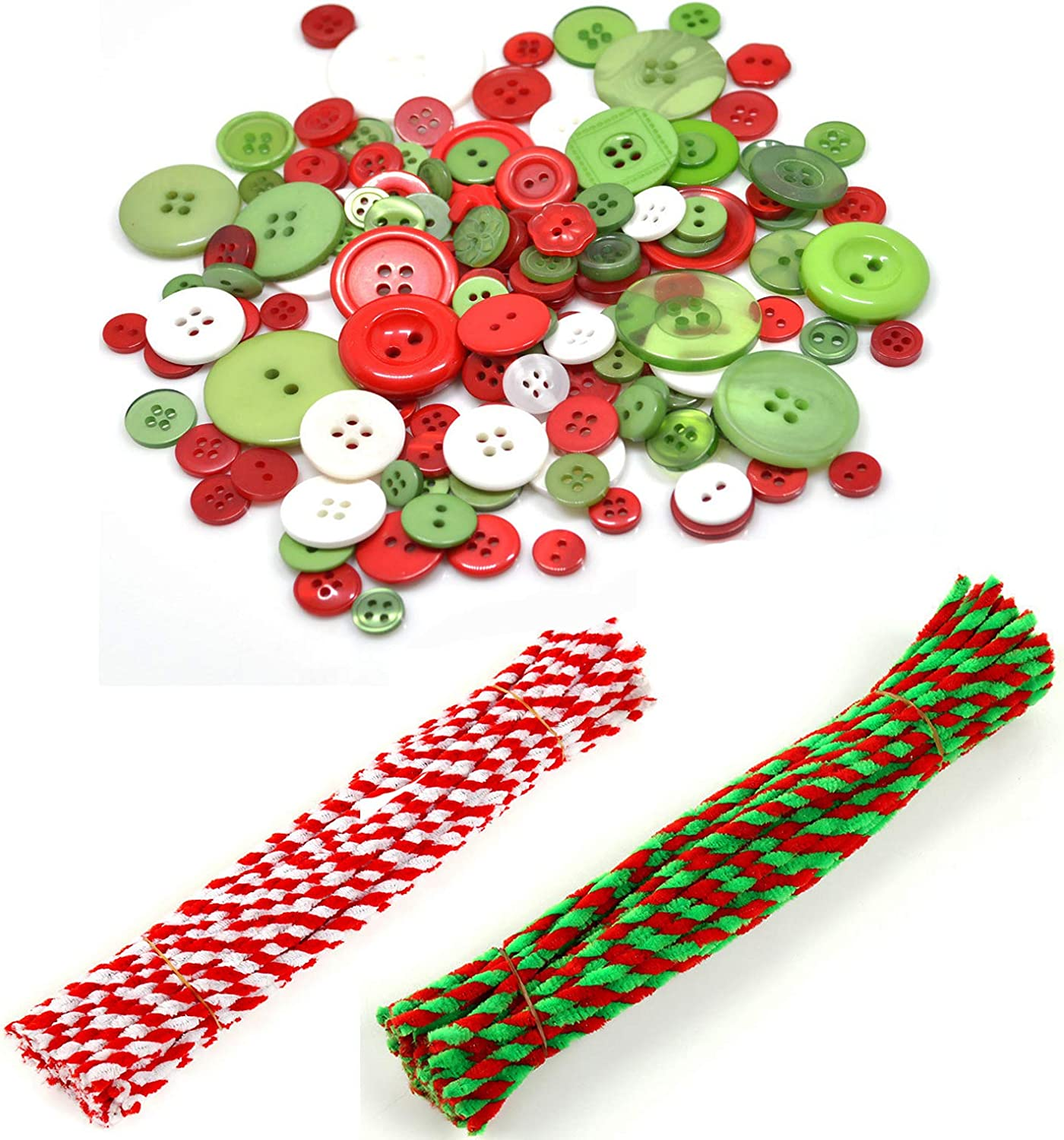 Christmas Ornament Craft Kit 100 Pieces Chenille Stems Pipe Cleaners About 200 Pieces Colorful Christmas Buttons Xmas Resin Buttons