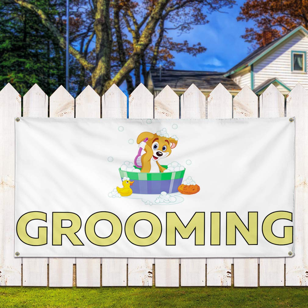 6 Grommets Vinyl Banner Sign Grooming Business Grooming Outdoor Marketing Advertising White Multiple Sizes Available Set of 2 32inx80in
