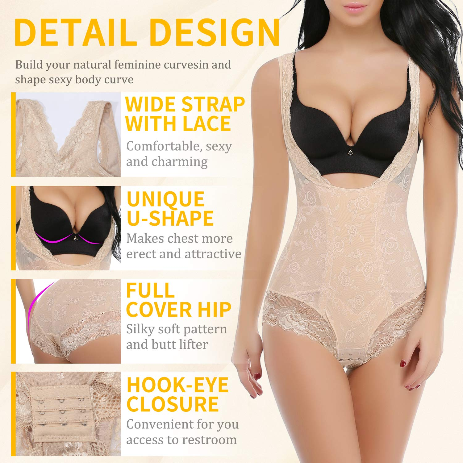 6a81e16a319 Vaslanda Slimming Full Body Shaper for Women Tummy Control Bodysuit Butt  Lifter Shapewear with Sexy Lace at Amazon Women s Clothing store