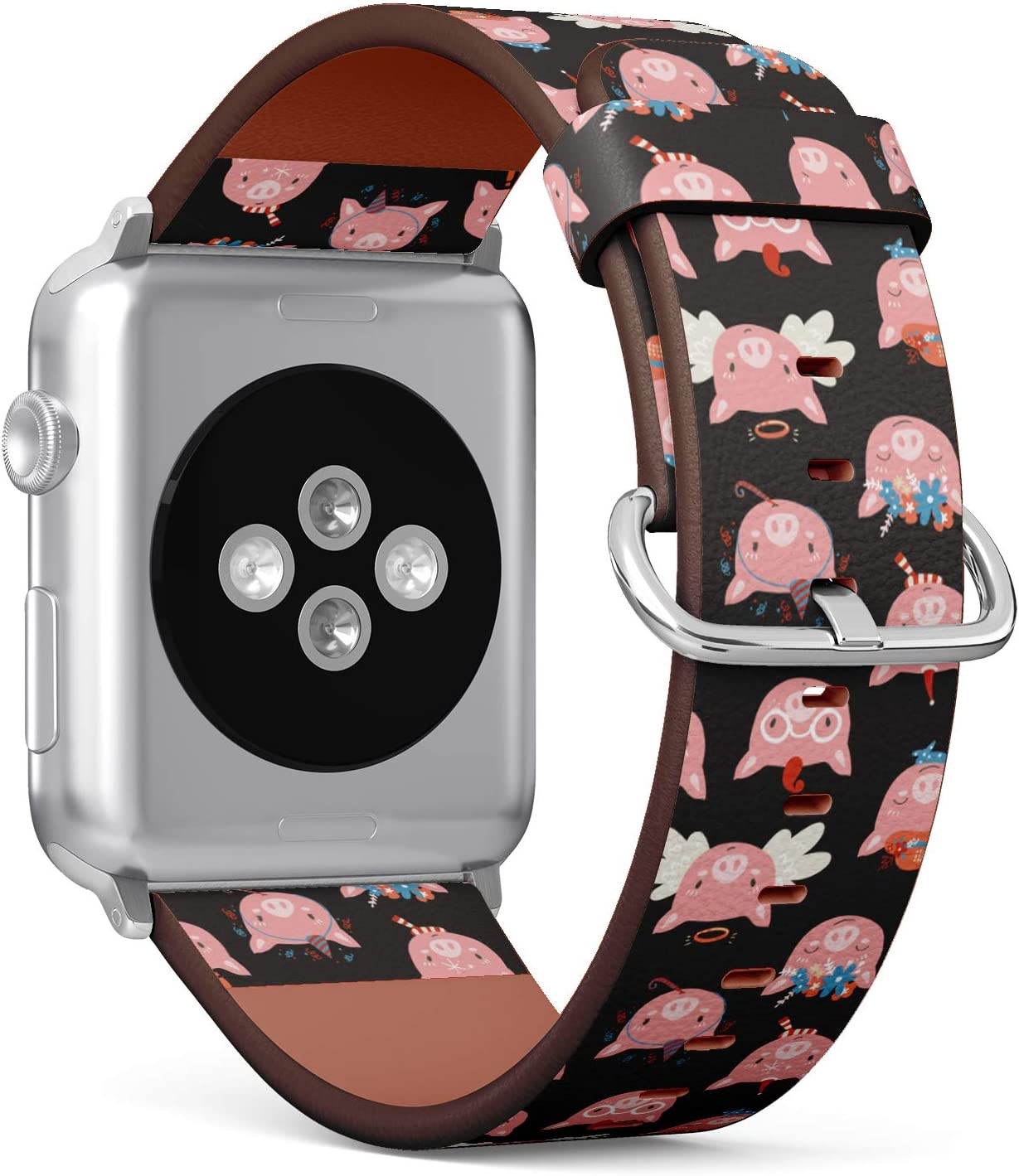 S-Type Leather Bracelet Watch Band Strap Replacement Wristband Compatible with Apple Watch 4/3/2/1 Sport Series 38mm 40mm 42mm 44mm - Cute Cartoon?Pattern with Pig Piglet Faces