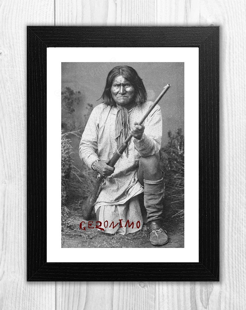 Choice of frame. Geronimo St Louis 1904 reproduction signed A4 poster