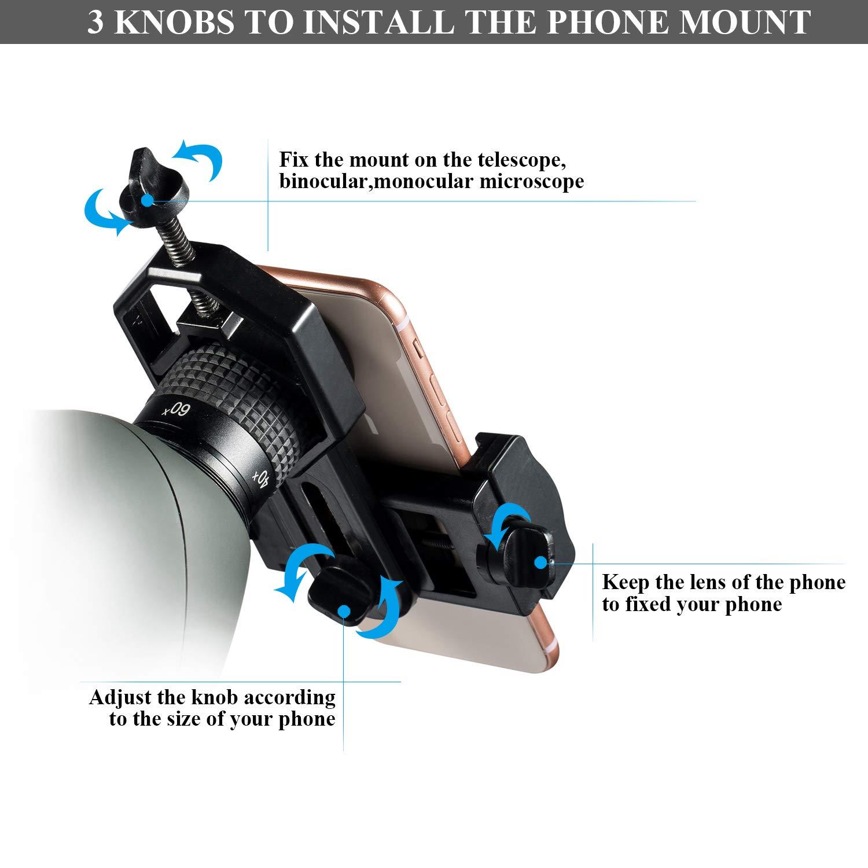 pour iPhone Microscope et T/élescope Astronomique Samsung Tr/épied LAKWAR Smartphone Adaptateur Universel Digiscoping Adapter Rotatif 360/° pour Jumelles Longue-Vue Moto Monoculaire OnePlus