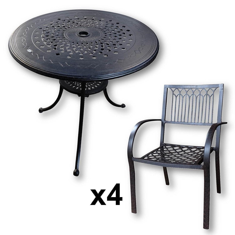 Anna 80cm Rundes Gartenmöbelset Aluminium - 1 ANNA Tisch + 4 MARY ...