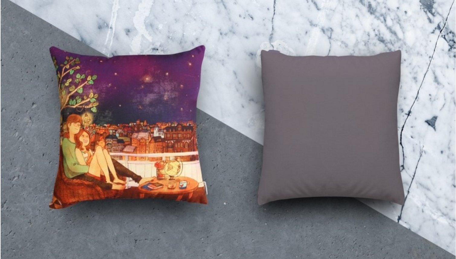 Puuung Illustration Cushion Love is Grafolio Couple Love Story Picture Present (45x45cm(17.7''x17.7'') Cushion, Stargazing)