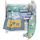 Small Wonder Cotton Moon Star 6 Piece Crib Bedding Set, 150x75cm (Blue)
