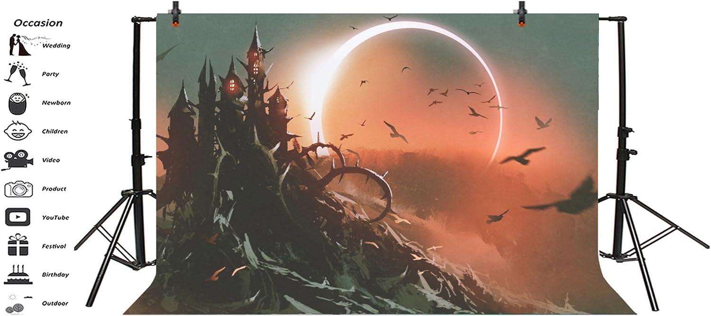 Laeacco 6x4ft Fairytale Halloween Theme Backdrop Vinyl Gloomy Moonlight Lunar Eclipse Brambly Haunted Castel Photography Backgroud Flying Owls Kids Baby Halloween Party Photo Shoot Props