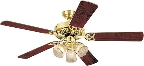 Westinghouse Lighting 78043 7804365 Westinghouse Lighting78043 Vintage Three-Light 52-Inch Five Blade Ceiling Fan