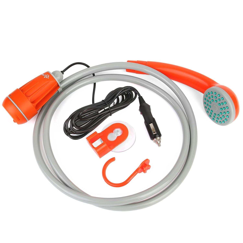 Bomba de agua y ducha manual portátil a corriente de 12 V Ivation. Transforma el agua de un cubo/fregadero en una corriente suave y regular.