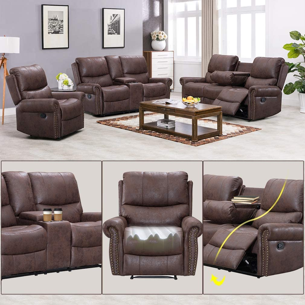 Recliner Sofa for living room Set Reclining Couch Sofa Chair Palomino  Fabric Loveseat 3 Seater Home Theater Seating Manual Recliner Motion Home  ...