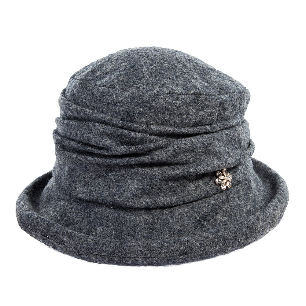 Siggi Ladies Wool Felt Cloche Hat Winter Hats for Women 1920s Vintage Fedora Bowler Bucket Hat Packable