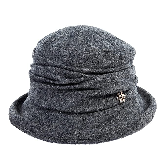Edwardian Style Hats, Titanic Hats, Derby Hats Siggi Womens 1920s Vintage Wool Felt Cloche Bucket Hat Winter Fall Packable $18.99 AT vintagedancer.com