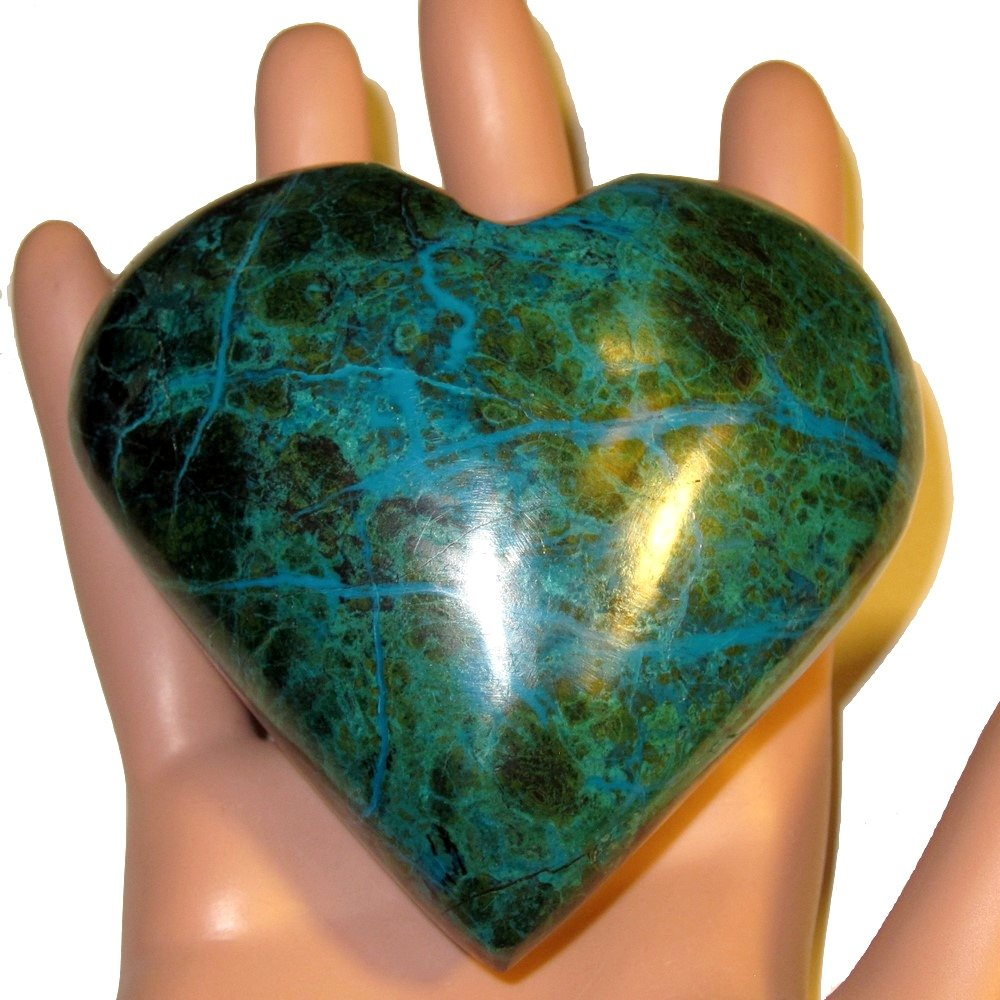 Chrysocolla Heart 05 Big Plump Natural Peruvian Turquoise Crystal True Love Anniversary Valentines 3.2'' by SatinCrystals (Image #7)