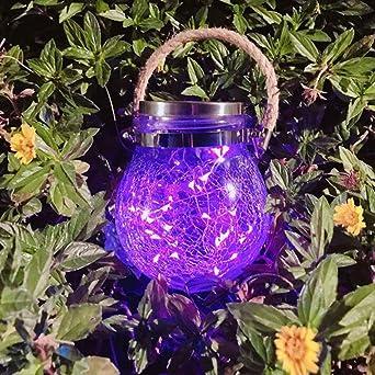 Mobestech 2 Piezas de Energía Solar Craquelado Vidrio Luz de Jardín Exterior Jarra Impermeable Luz Linterna Cuerda de Cáñamo Botella Colgante Luz para Patio Patio Césped (Púrpura): Amazon.es: Iluminación
