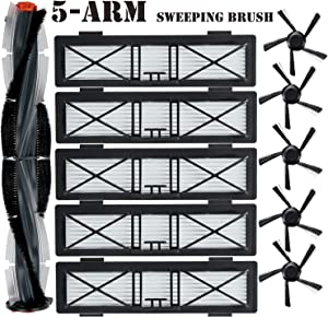 JoyBros 11-Pack Replacement Accessories Kit :5-Arm Sweeping and Spiral Combo BrushBrush Ultra High Performance Hepa Filters Compatible for Neato D Series D75 D80 D85 Connected D3 D4 D5 D6 D7 Robotics