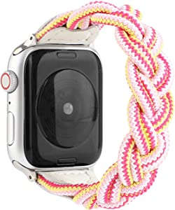 Sufderny Braided Stretchy Nylon Loop Bands Compatible with Apple Watch Elastic Plaits Strap Wristband 44mm 42mm Series 6 5 4 3 2 1 SE, Camouflage Pink