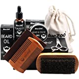 MagiDeal 7pcs Beard Kit for Men Beard Growth Grooming Trimming Beard Balm & Natural Beard Oil & Comb & Brush & Barber Scissors & Cases