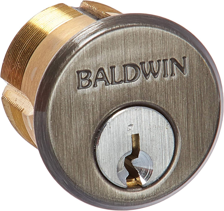 """Baldwin 8323.151 Mortise Lock Cylinder for 1-3/4"""" Door, Antique Nickel"""