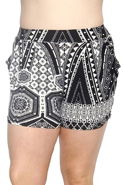b4a33ac4f56 Elegant4U Junior s Plus Size Unique Monotone Print Harem Shorts with side  Pockets
