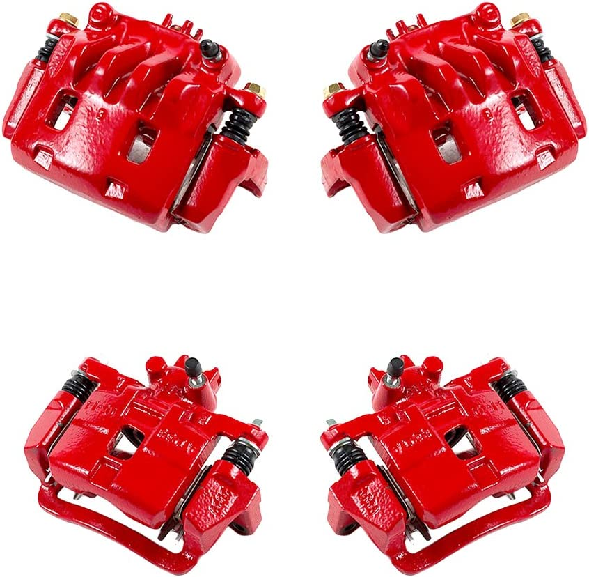 CK01116 FRONT 4 Performance Grade Semi-Loaded Powder Coated Red Caliper Assembly Set Kit REAR