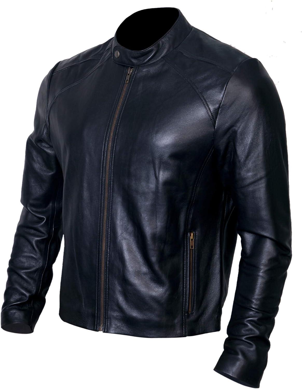 Black Leather Jacket Men for Bikers Genuine Lambskin Motorcycle Jackets