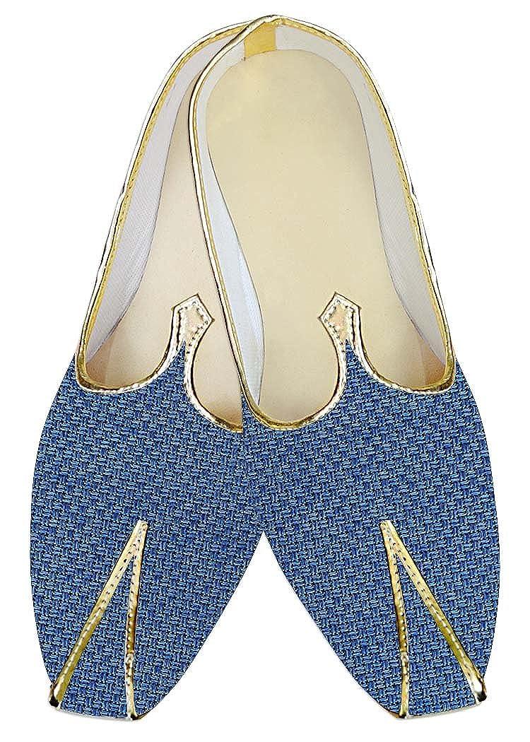 INMONARCH Yute Azul ACERO Hombres Zapatos de Boda MJ014216 38.5 EU